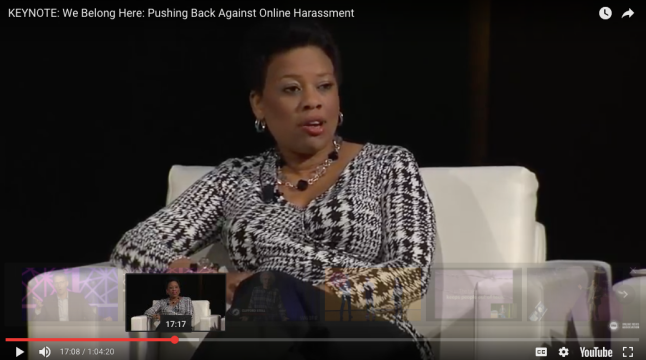 Michelle Ferrier speaks about online harassment on a panel at ONA in September 2015.