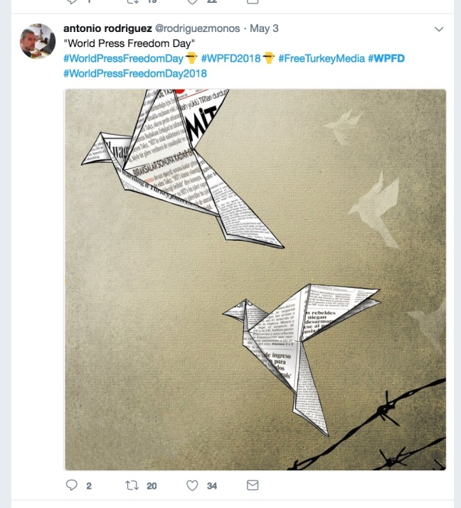 World Press Freedom Day tweet from Antonio Rodriguez