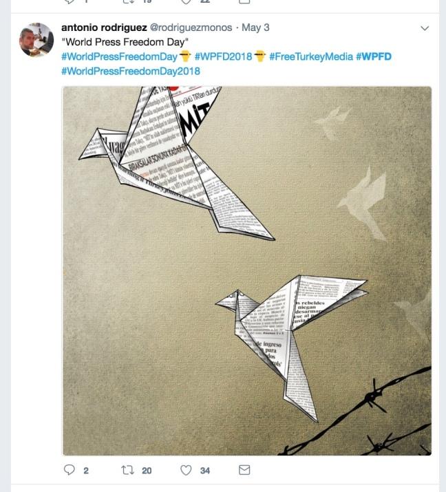 World Press Freedom Day tweet from Antonio Rodriguez