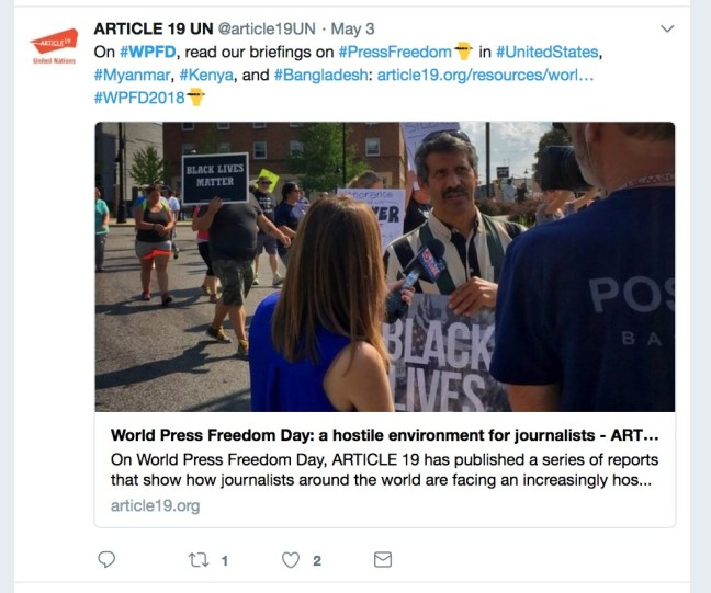 World Press Freedom Day tweet from Article 19
