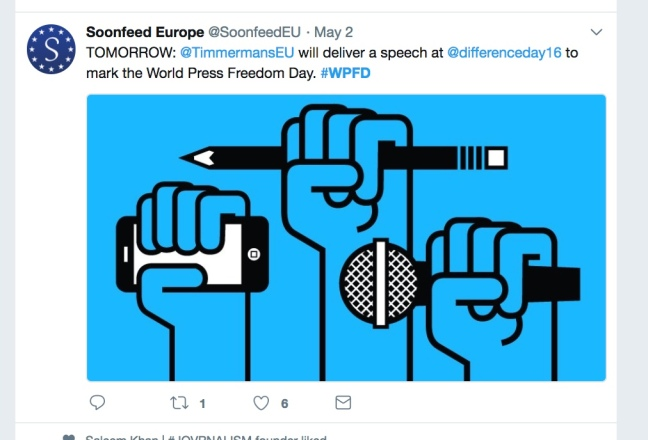 World Press Freedom Day tweet from Soonfeed Europe