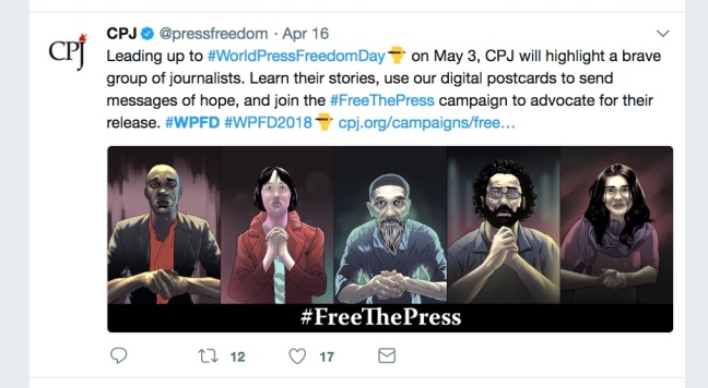 World Press Freedom Day tweet from CPJ